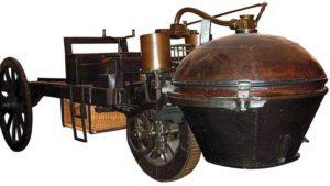 Komik görüntüsüyle, 1769 model ilk otomobil